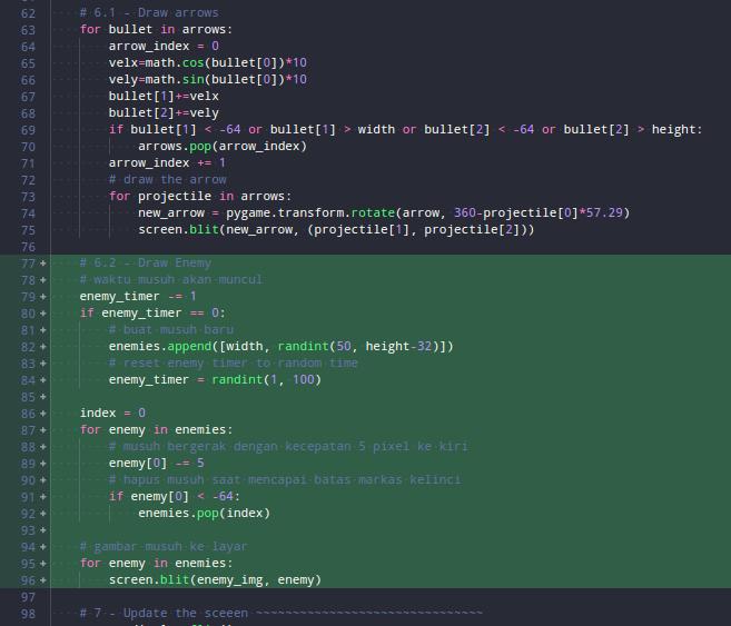 Kode untuk menggambar musuh