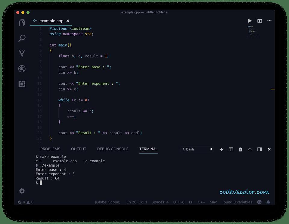 C++ find power while loop