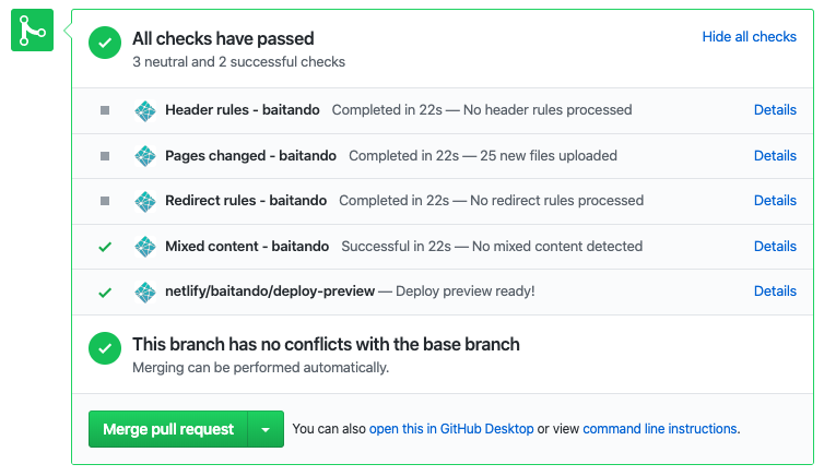 Result of Netlify Pull Request Checks on GitHub
