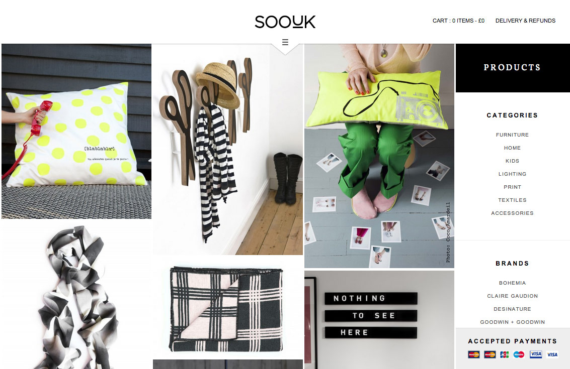 SooUK products page, showing a grid of products with category and brand filters.
