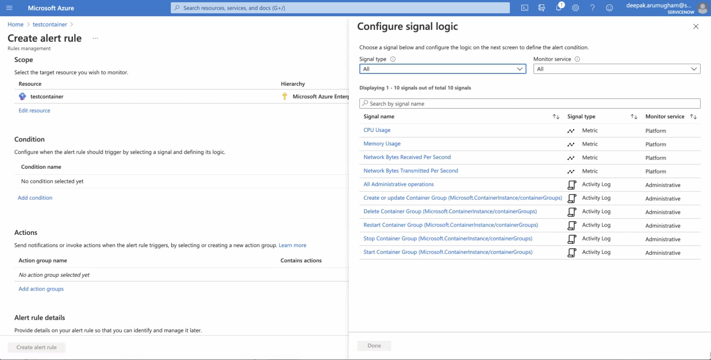 The Configure signal logic page.