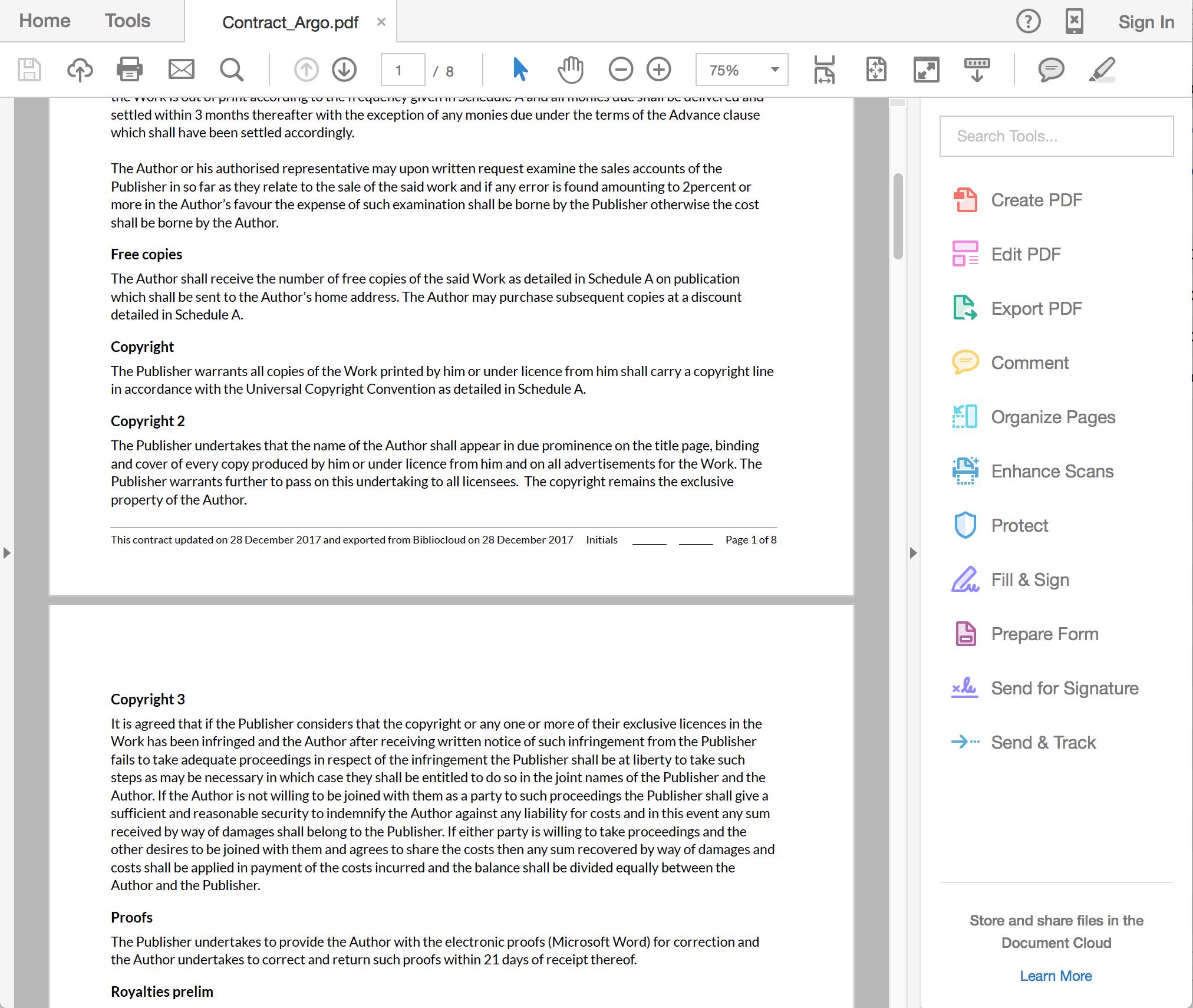Contracts screenshot