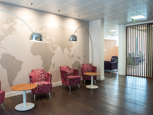 Office waiting room Virtual Background for Zoom with world map wall mural
