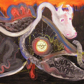 "Rait Rosin, Estonia. ""Lehm"" 2008. Canvas, mixed media, 90x110cm"