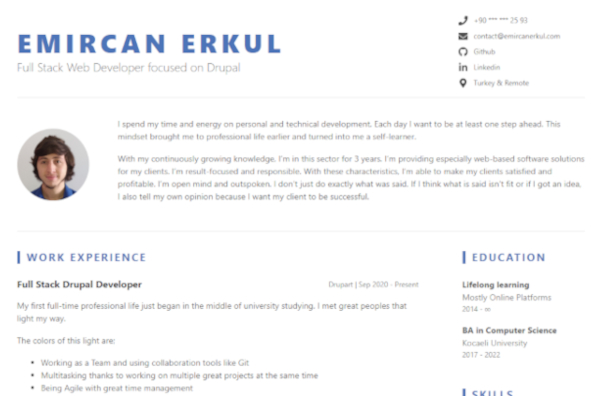 Screenshot of About Emircan ERKUL