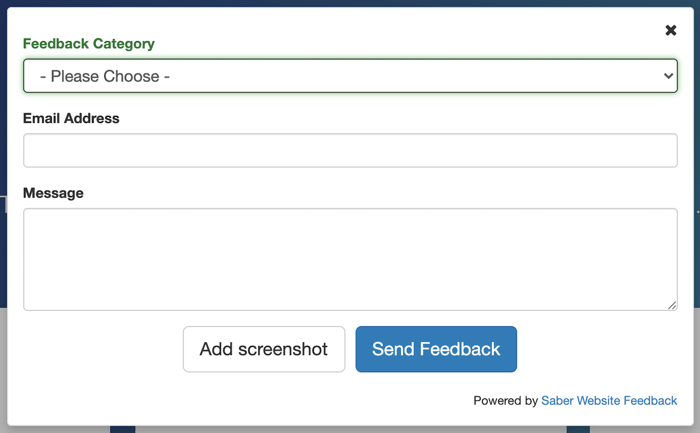 feedback button on Saber website