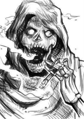 Grim Reaper Smoking Sketch