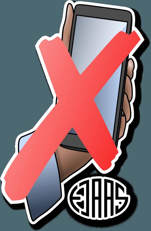 Illustration med rødt kryds over hånd som holder en smartphone