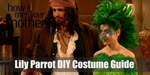 """To make this crazy costume yourself, all you need is a bunch of feathered boas, a tight green dress, purple tights, and a parrot headdress along with a couple extra accessories."""