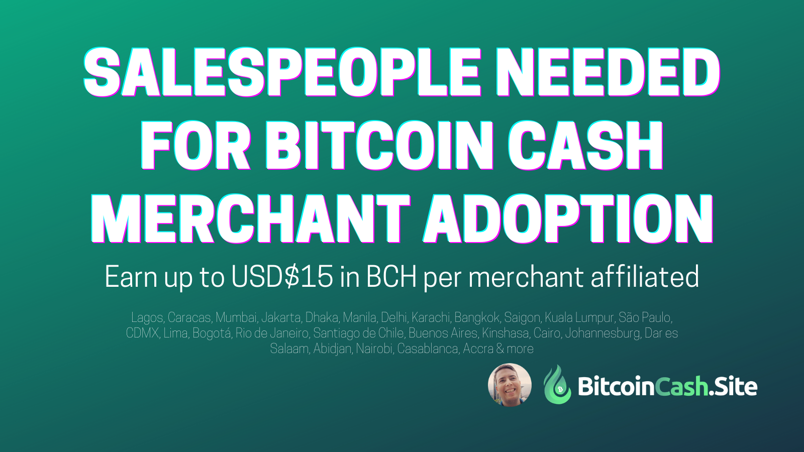 Bitcoin Cash Salespeople wanted in dozens of cities