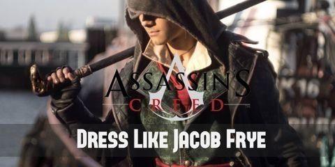 Set in the Victorian Era, Jacob wears a quirky emerald vest, a red cravat, dark brown pants, knee-high boots, and an iconic leather black jacket