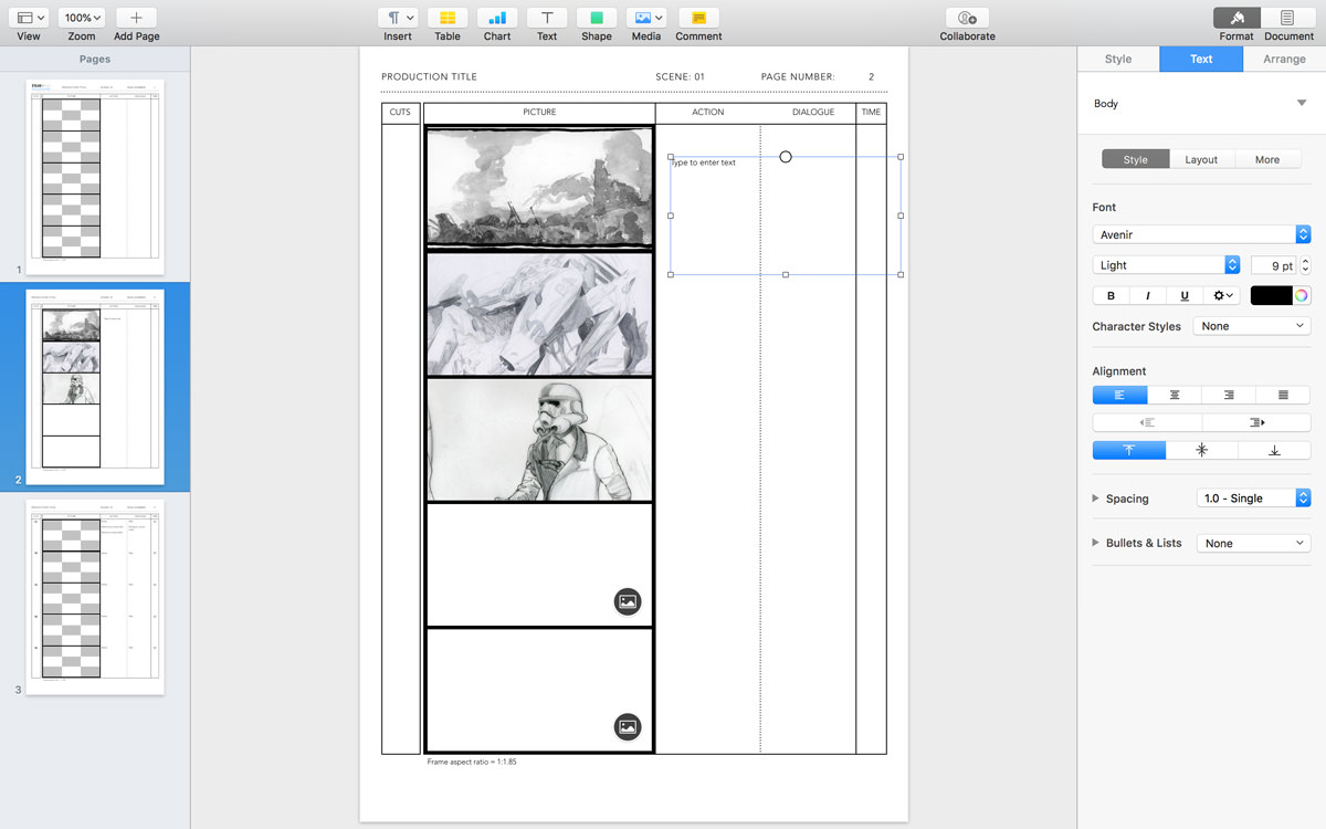 Apple Pages Anime Storyboard Template for 1.85:1 aspect ratio on DIN A4 vertical