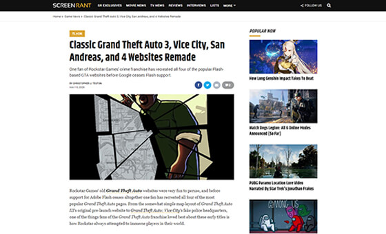 ScreenRant Classic GTA Sites