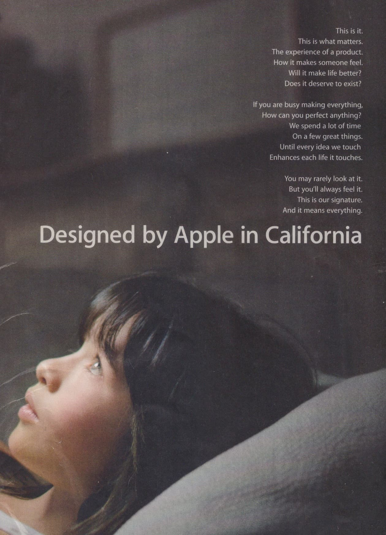 Apple ad with reverse (white-on-black) type