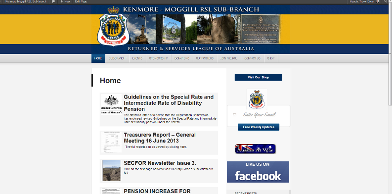 Kenmore Moggle RSL Website Screenshot
