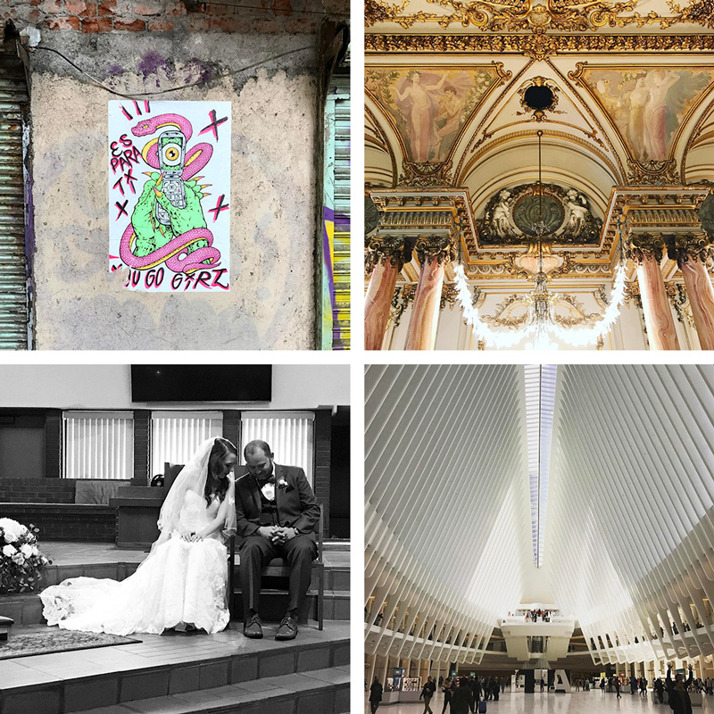 A collage of scenes from Mexico City, Paris, a wedding, and New York City