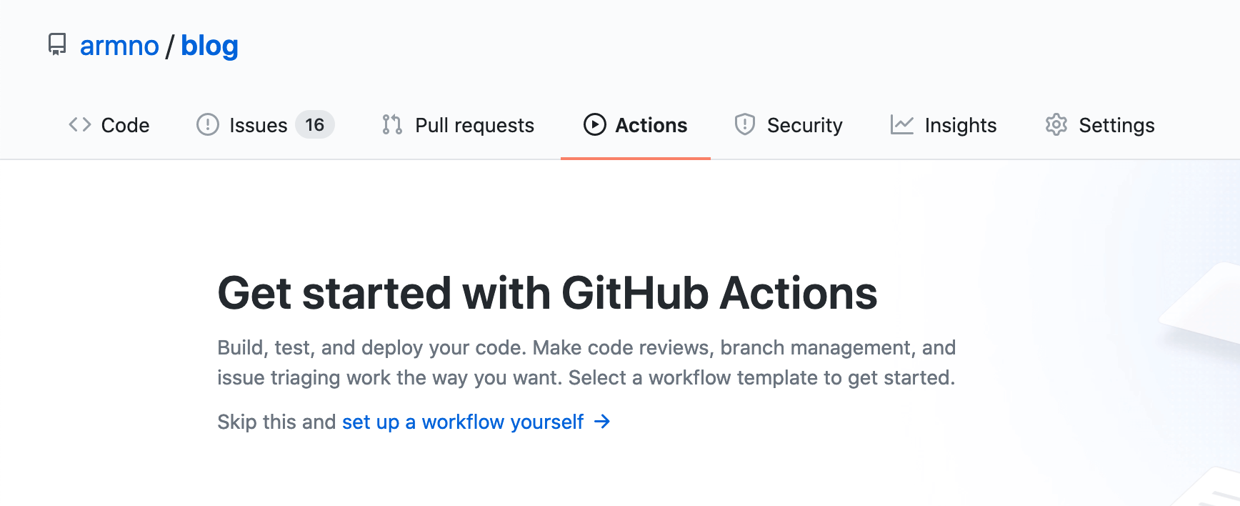 Actions page on GitHub repo