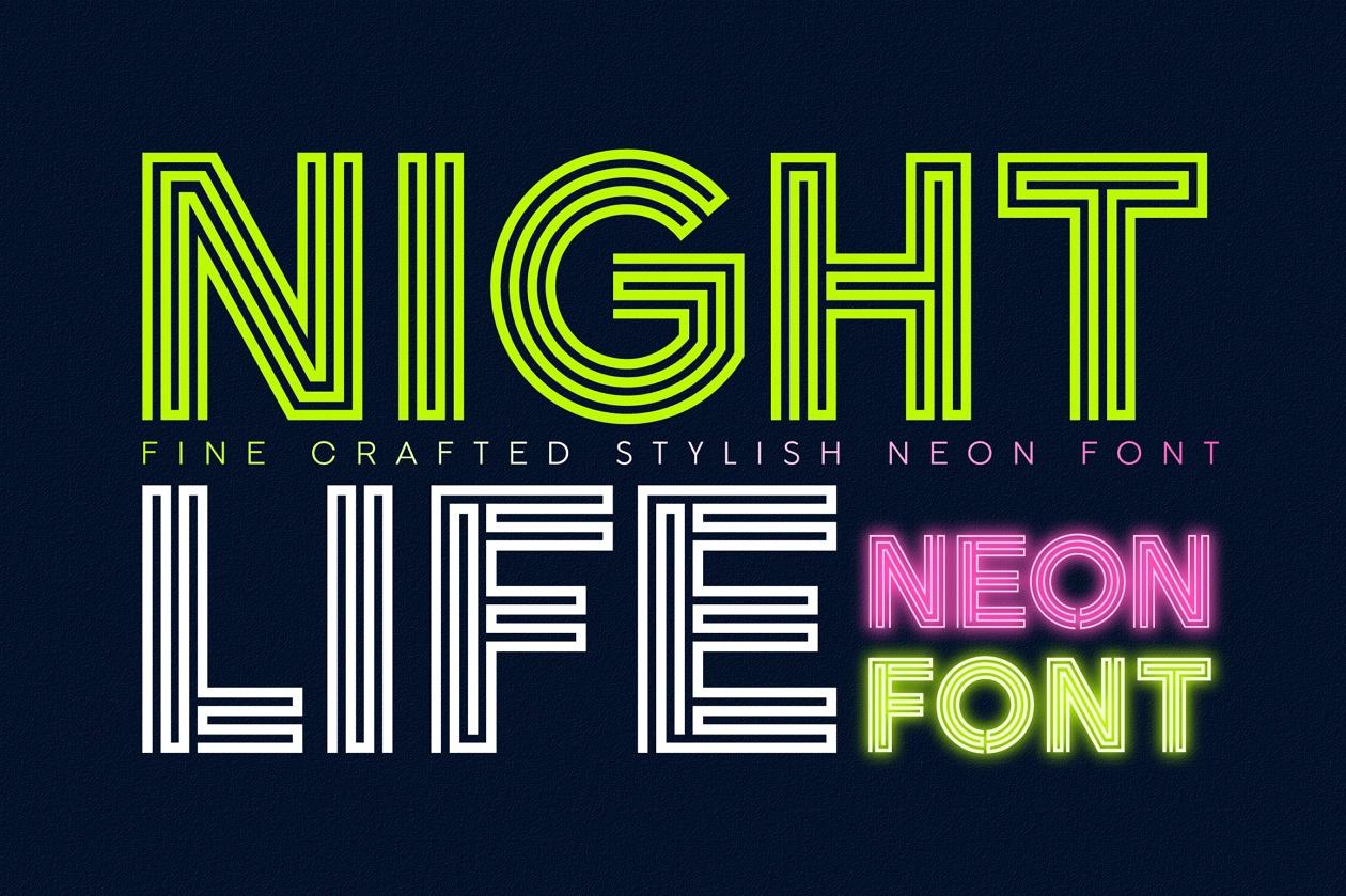 Nightlife Decorative Neon Font