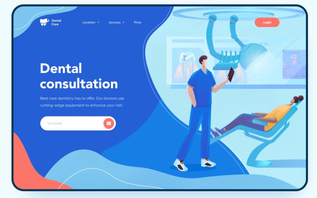 screenshot of website Dental Care DSO