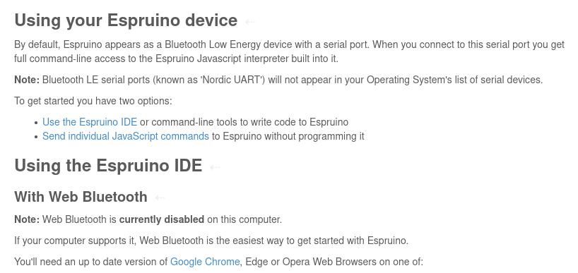 The Espruino setup instructions