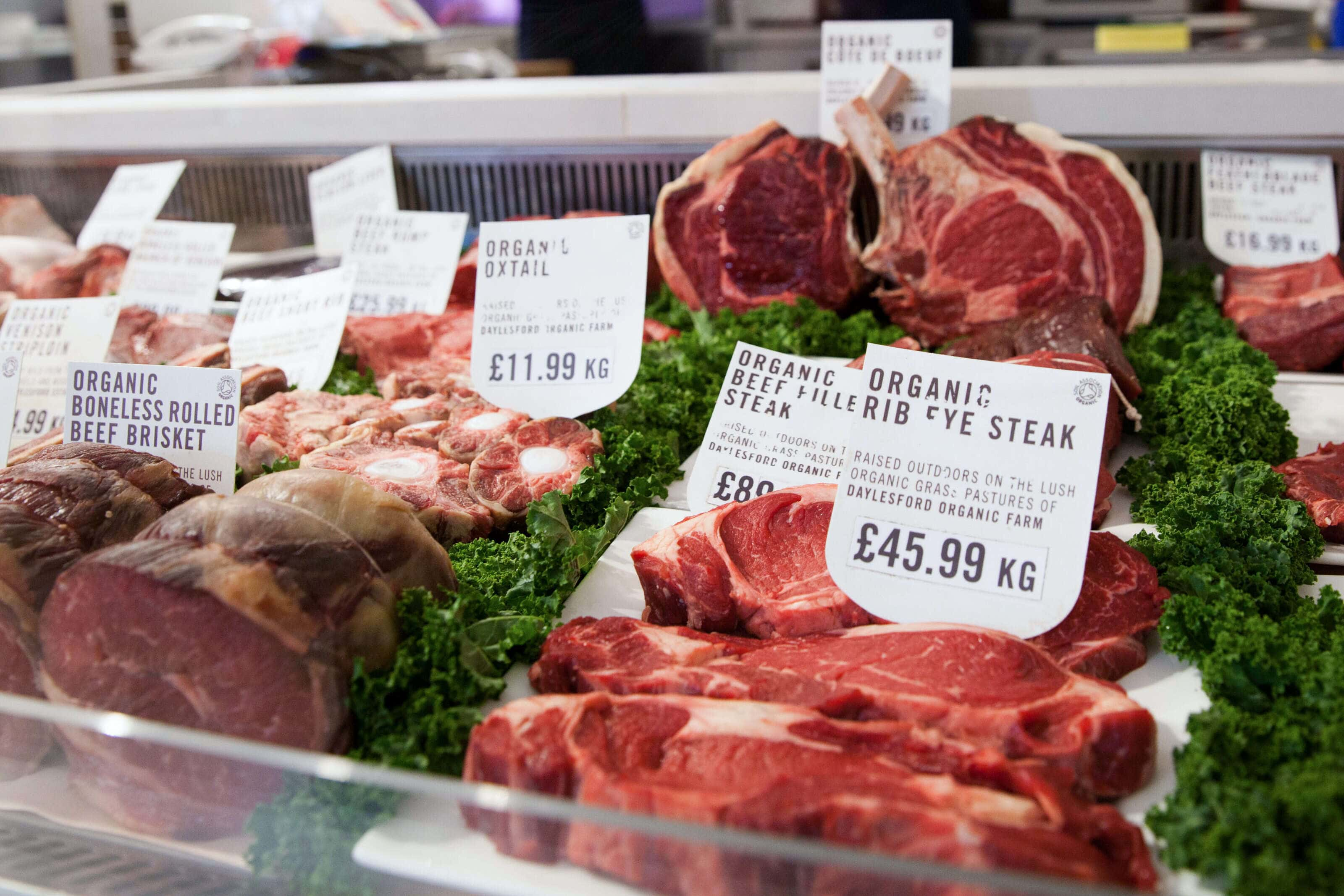 organic meat at a butchers