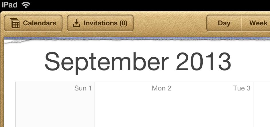 Apple Calendar app on iPad