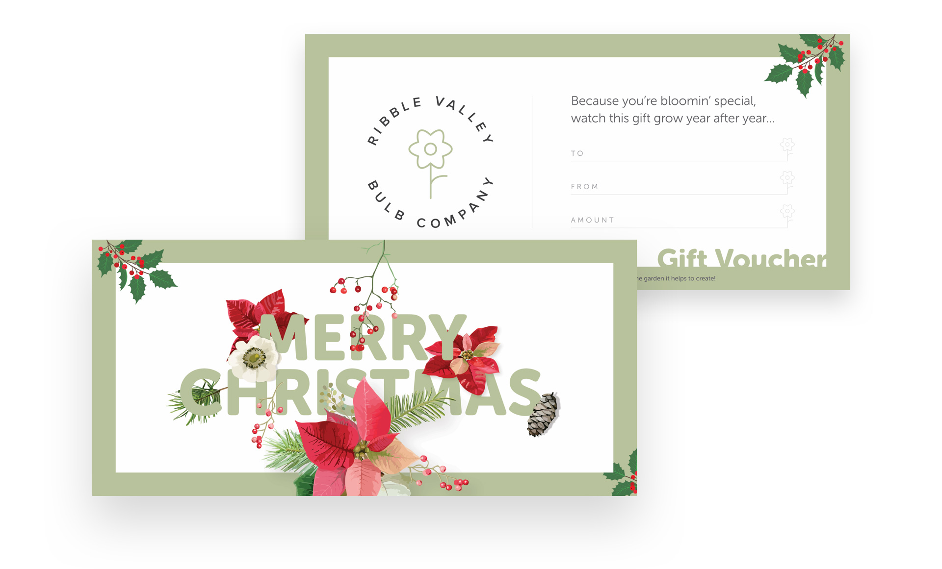 Print design and voucher design for Ribble Valley Bulb Company