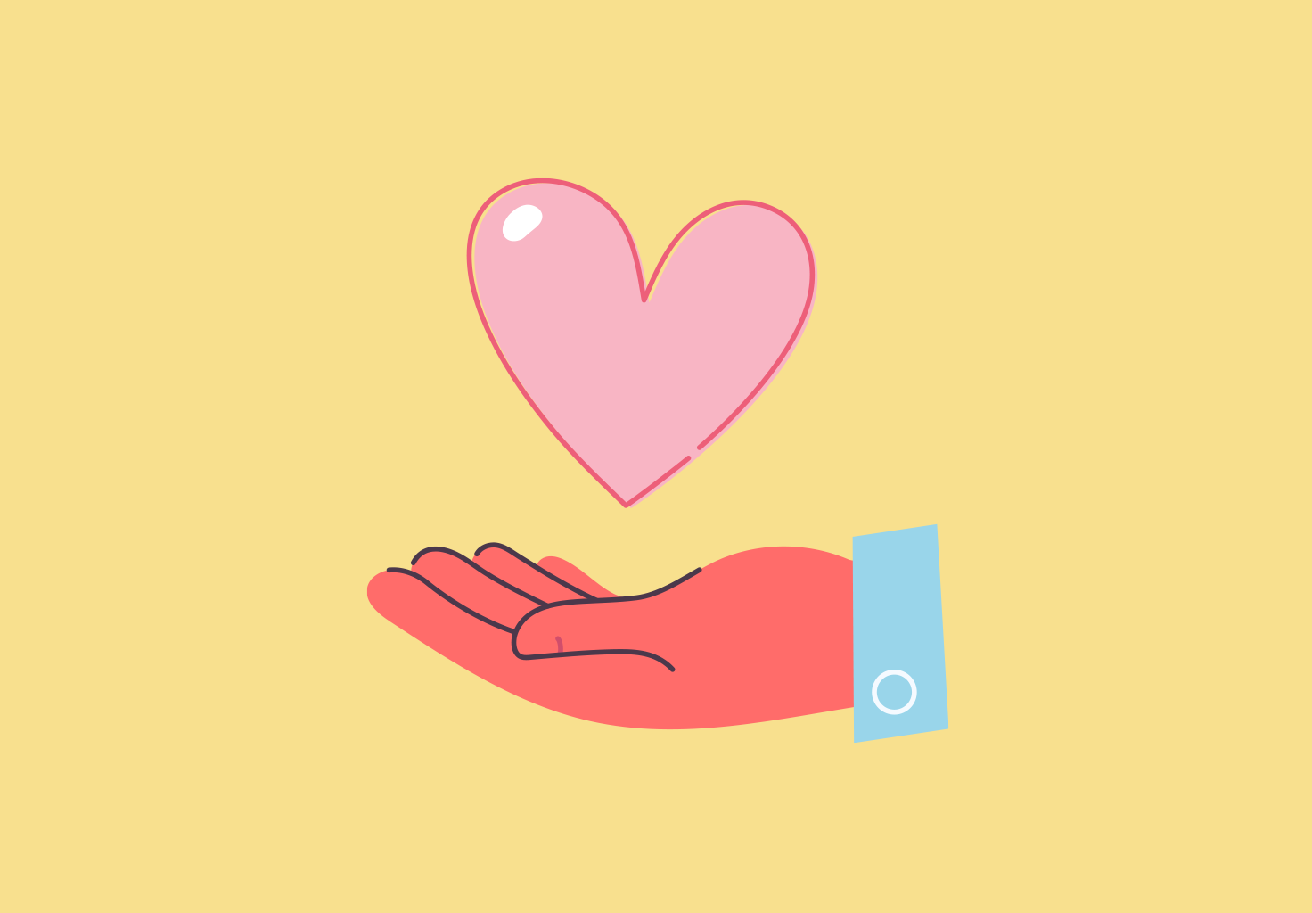An illustration of a heart in the palm of someone's hand.