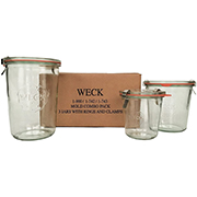 3 glass jars with rings and clamps