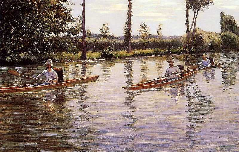'Boating on the Yerres', by Gustave Caillebotte (1848-1894) in 1878, oil on canvas