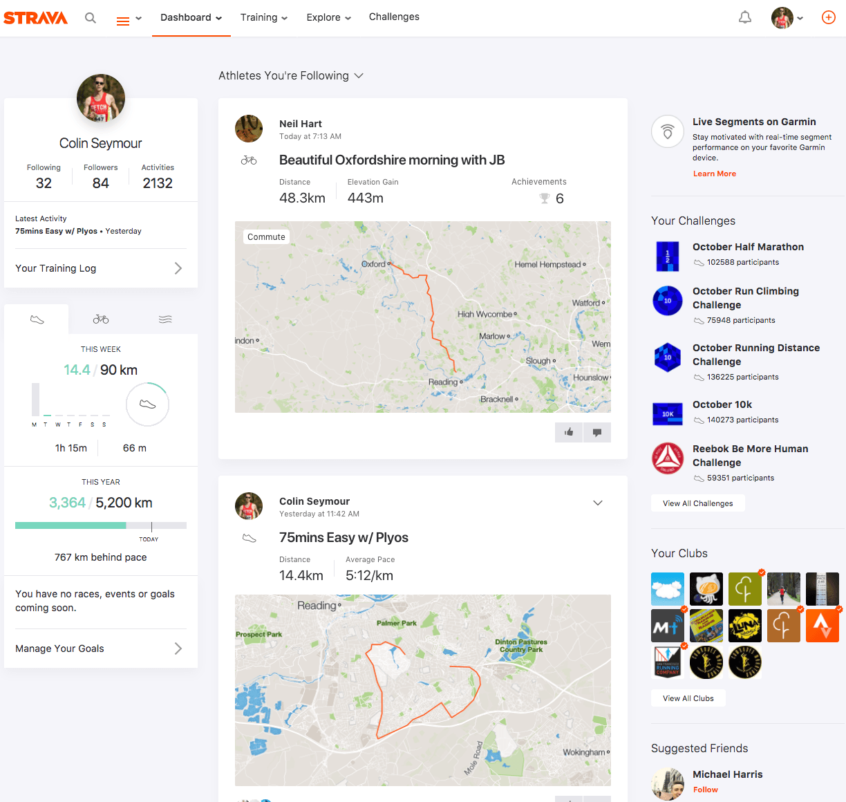 Strava Activity Feed - 17 Oct 2017