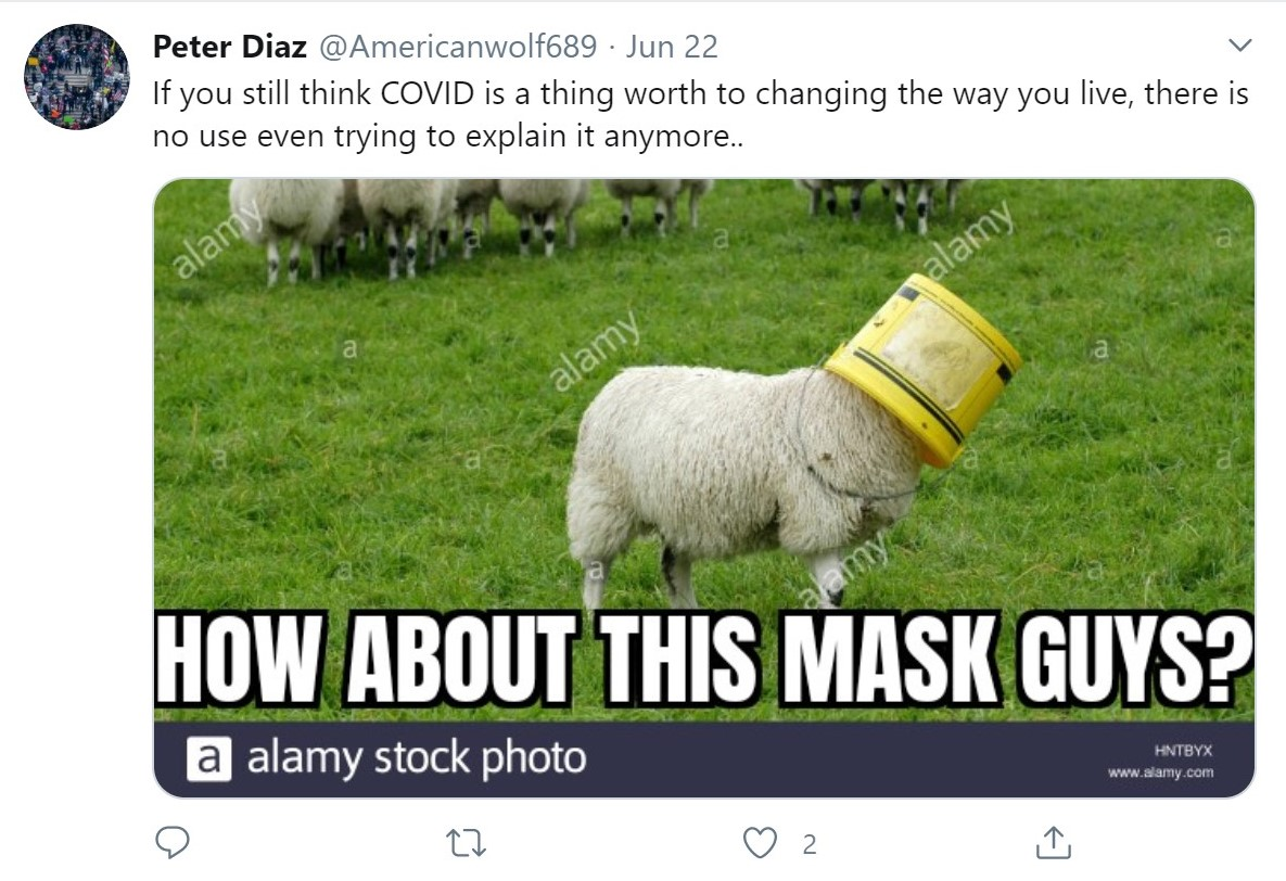 Diaz shares a meme comparing people wearing masks to sheep.