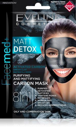 EVELINE Facemed+ MATT DETOX tisztító és mattító karbon arcmaszk 2x5ml