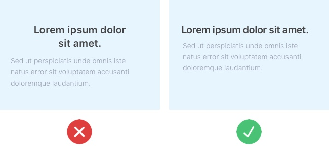 Two screenshots side by side of Lorem Ipsum text: the first is inconsistently aligned, the second is consistently aligned