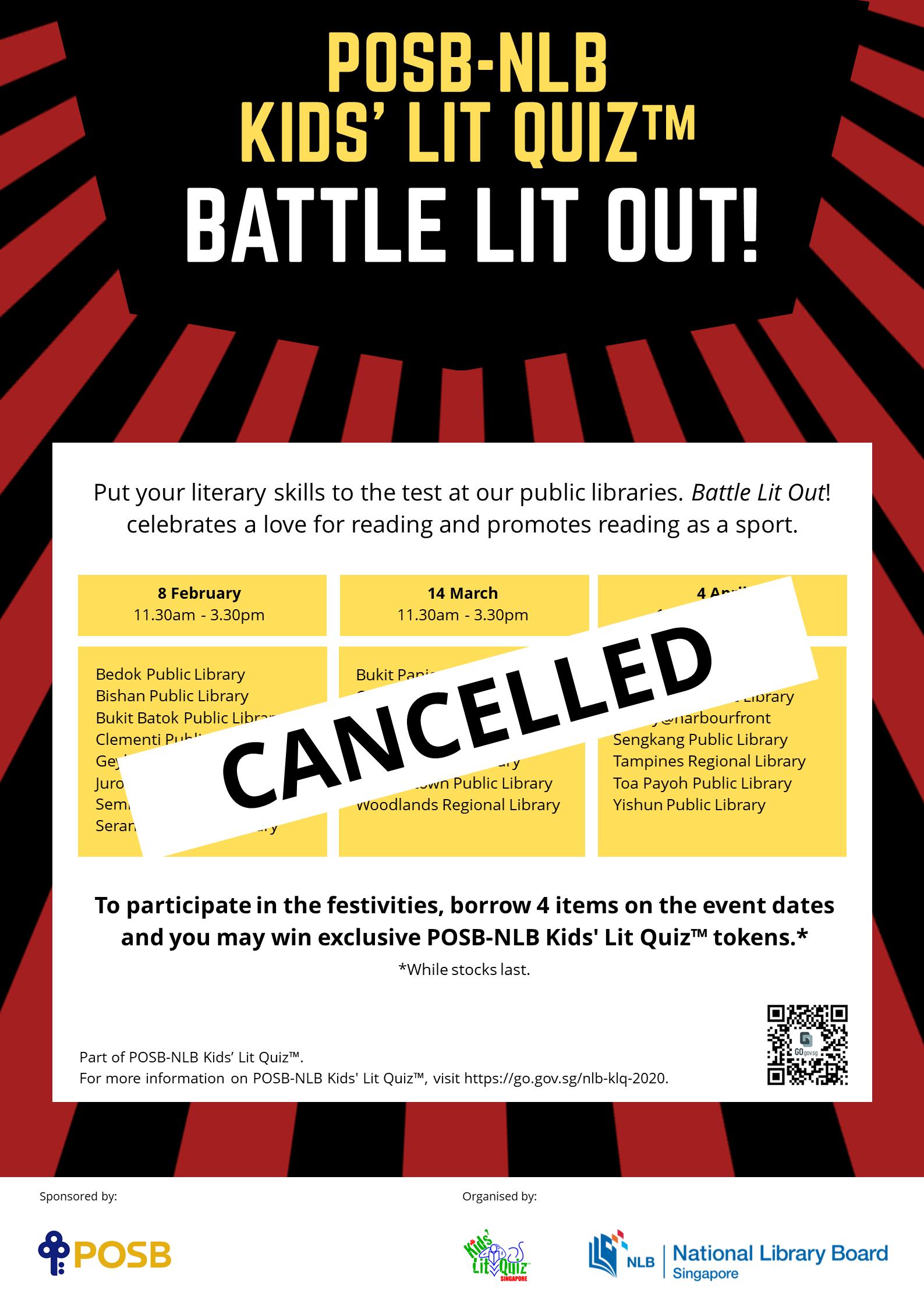 Lit Quiz cancellation poster