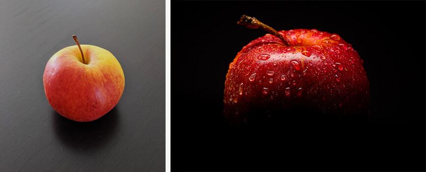 Photographies d'une pomme prise avec un smartphone et avec un matériel professionnel