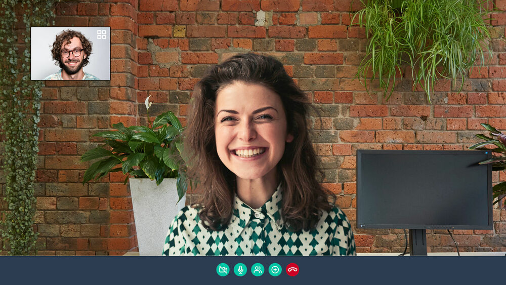 Exposed brick office background for Skype
