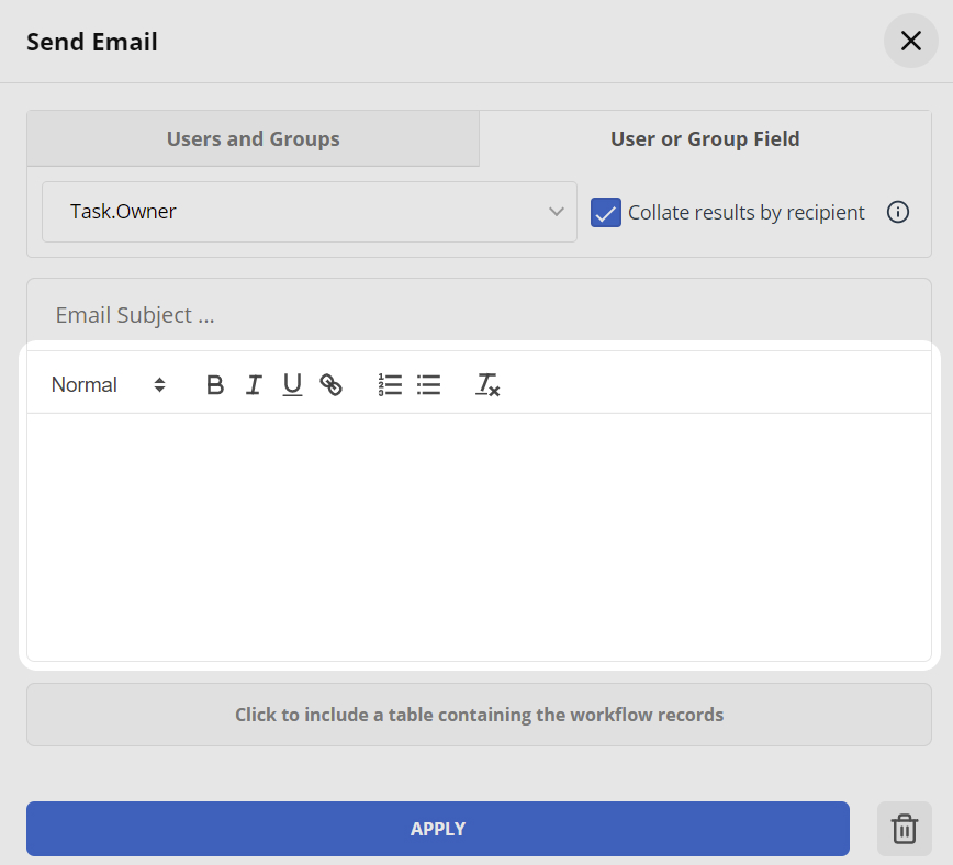 Workflow Email Body Text box