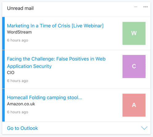 List of unread emails from your Outlook inbox in a Card