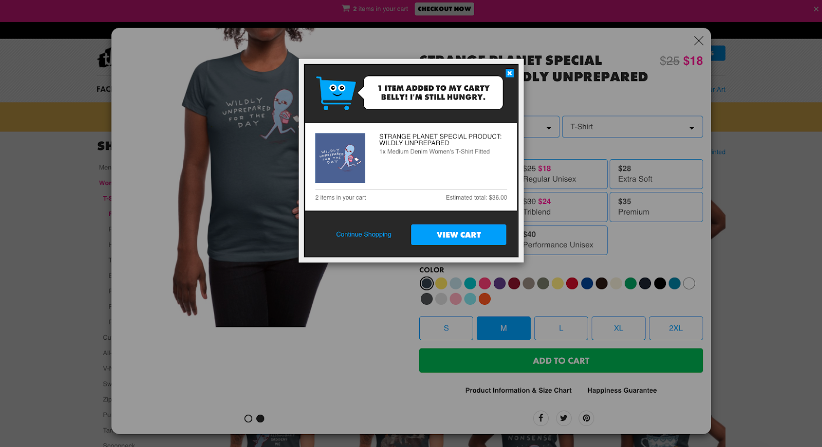 Screenshot of Threadless, showing how user adds an item.