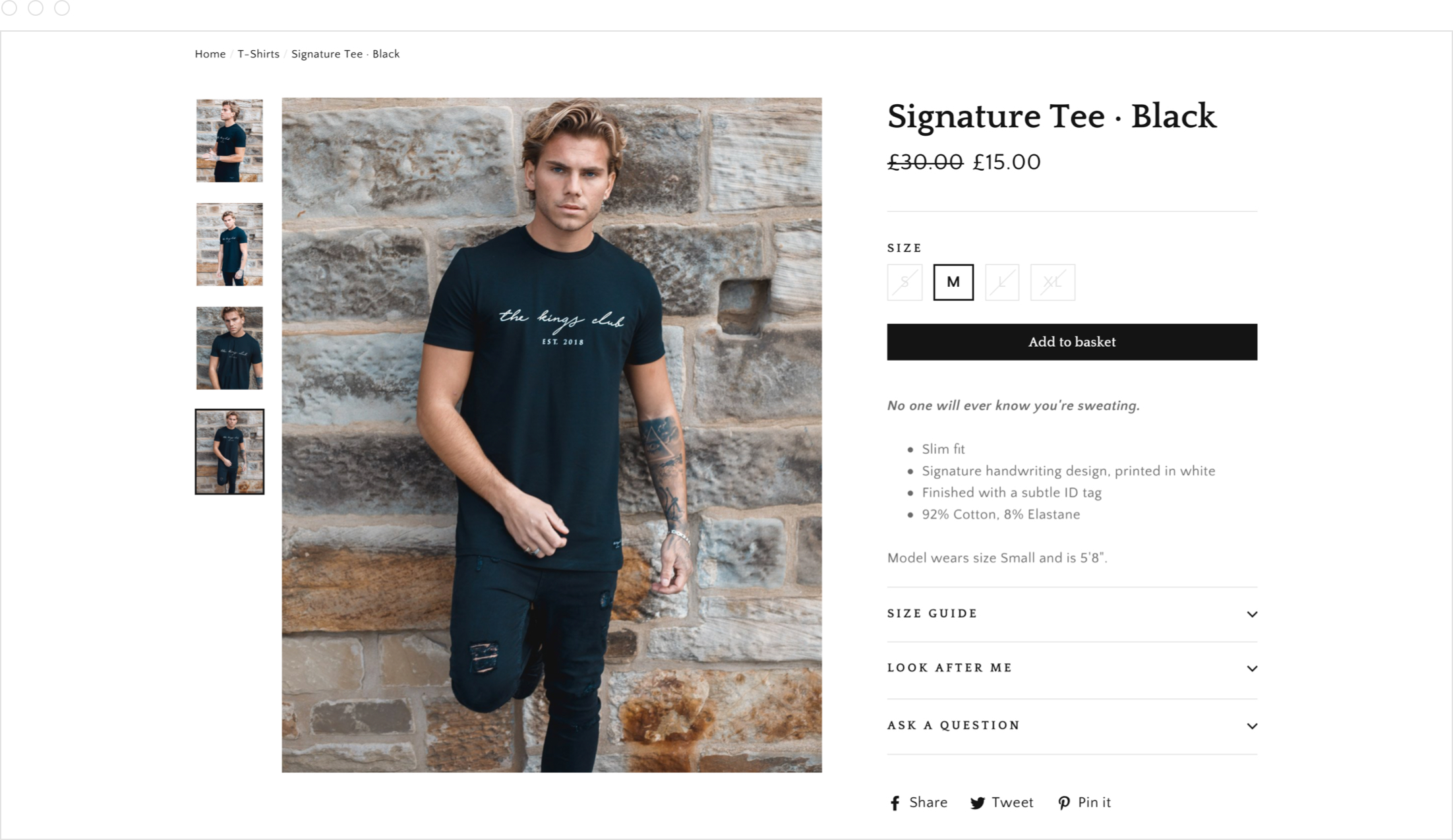 Product page, website and online store design for men's clothing brand, The Kings Club