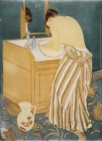 Woman Bathing (La Toilette) by Mary Cassatt, 1890-1, is a drypoint and aquatint print