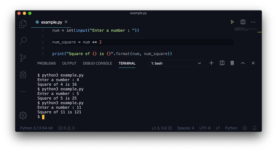 Python find square exponent