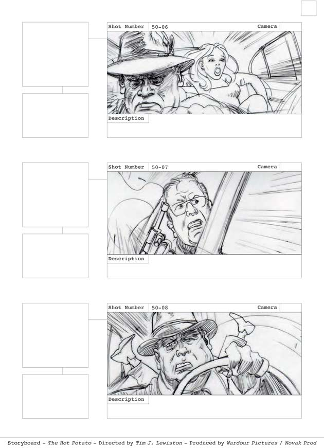 The Hot Potato One frame from car chase, firing gun scene - storyboard cleaned