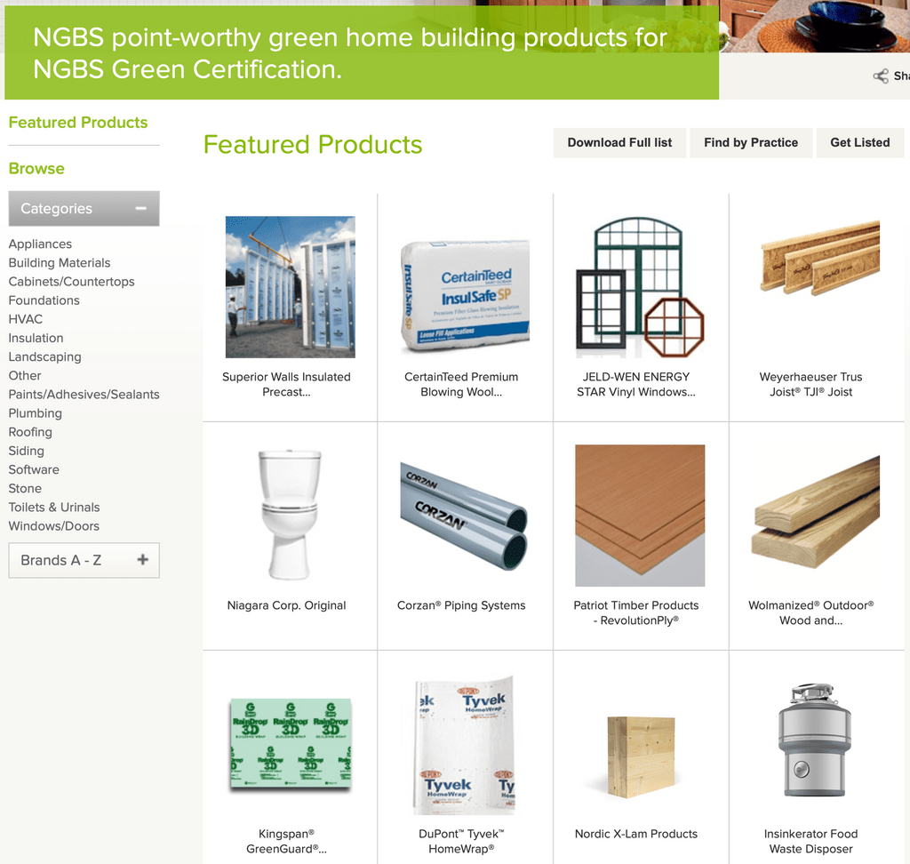 NGBS Certified Products.