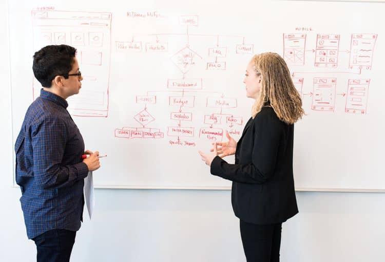Erklärung am Whiteboard in einem Workshop