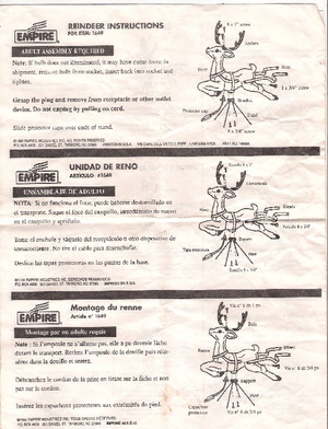 Empire Reindeer #1649 Instruction Manual (1998) preview