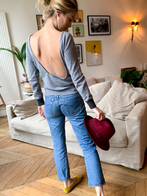Pull en maille après upcycling