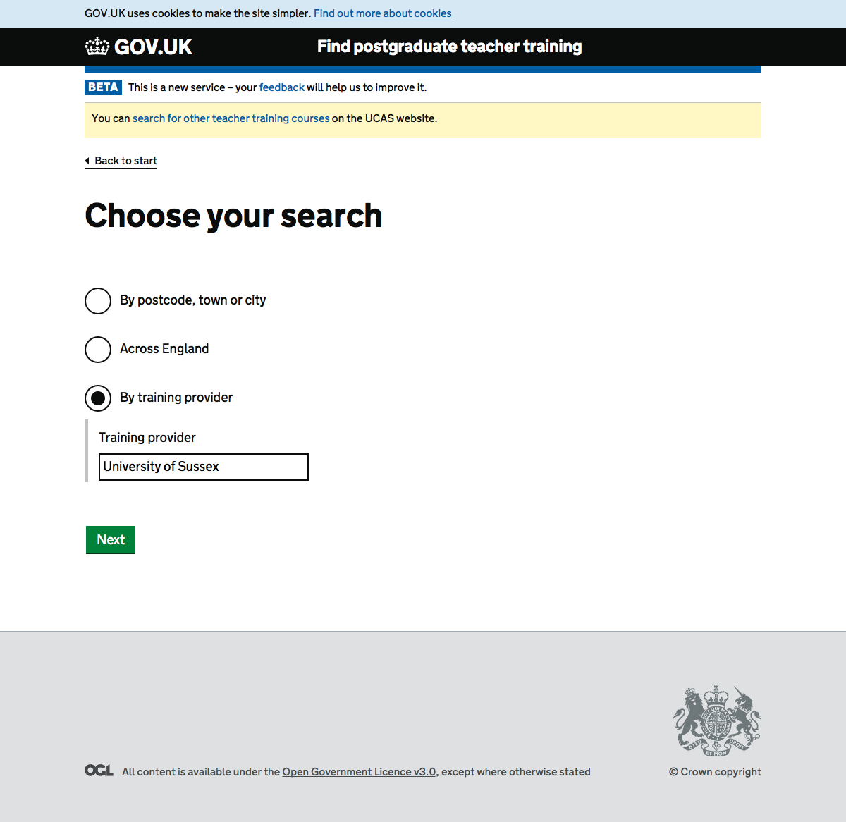 Screenshot of Search by provider