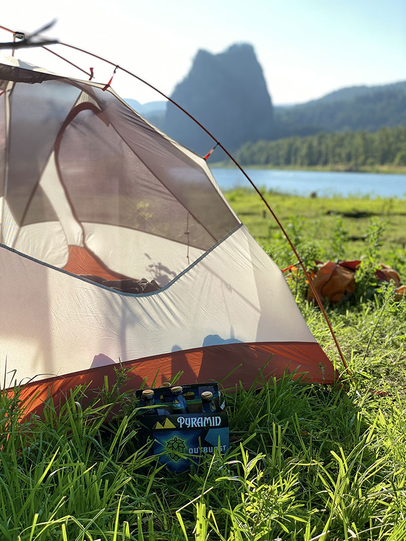 Camping on Ives Island near Beacon Rock